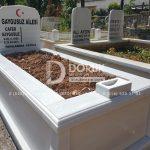 Tek kisilik Sut Beyazi Mermer Mezar -26