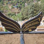 Özel Tasarım Siyah Granit Kelebek Mezar Taşı Modeli